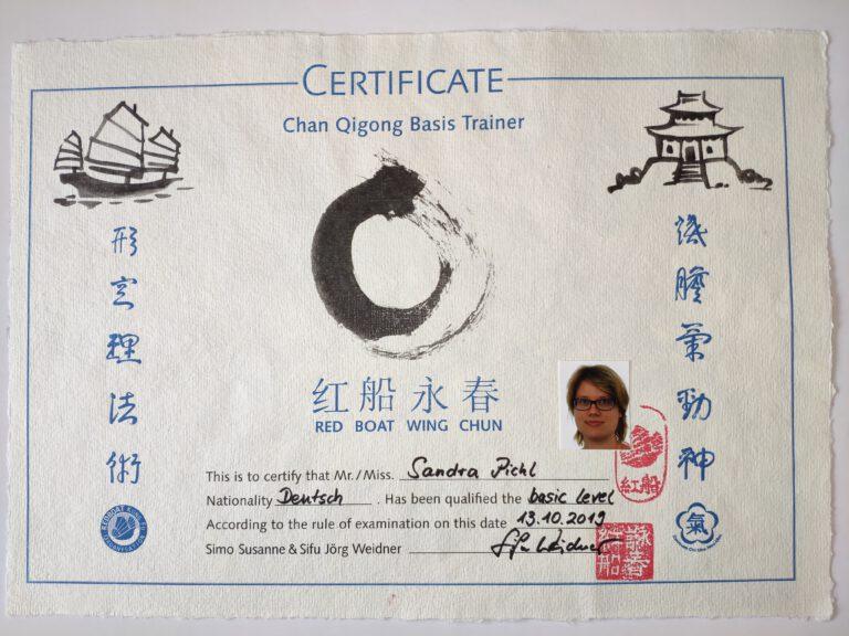 Übungsleiter Chan Qi Gong Zertifikat groß