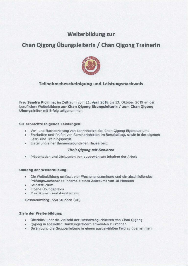 Übungsleiter Chan Qi Gong Leistungsnachweis 1 von 3